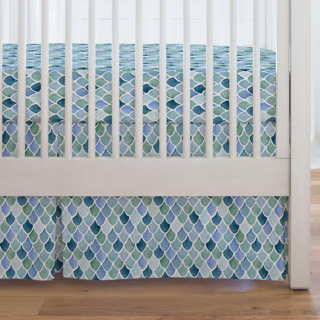 Product image for Blue Watercolor Scales Crib Skirt Single-Pleat