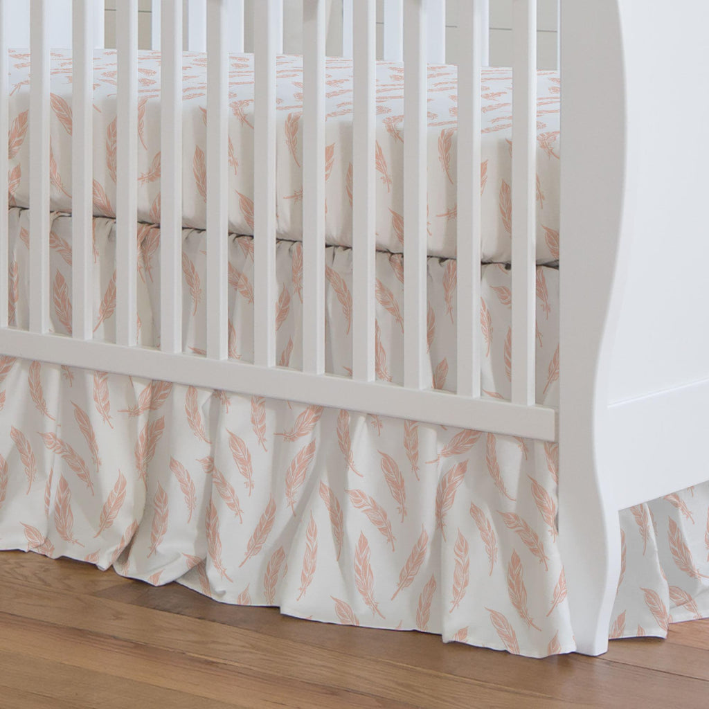 Product image for Peach Hand Drawn Feathers Crib Skirt Gathered