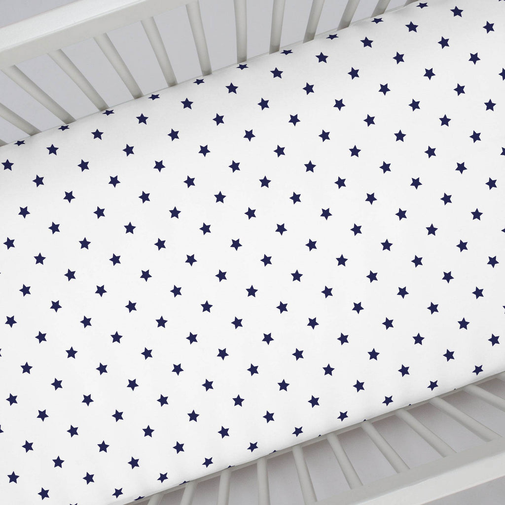 Product image for Navy Stars Crib Sheet