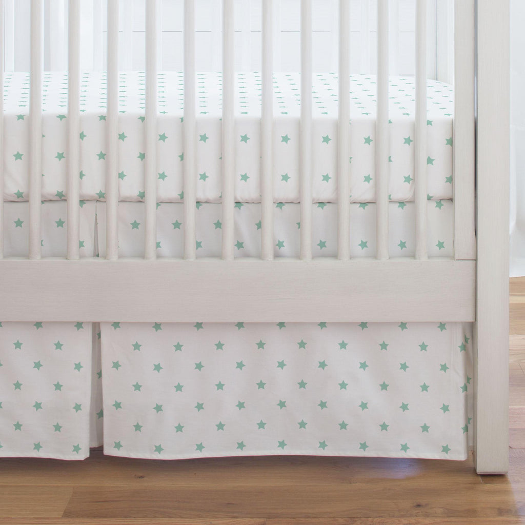 Product image for Mint Stars Crib Skirt Single-Pleat