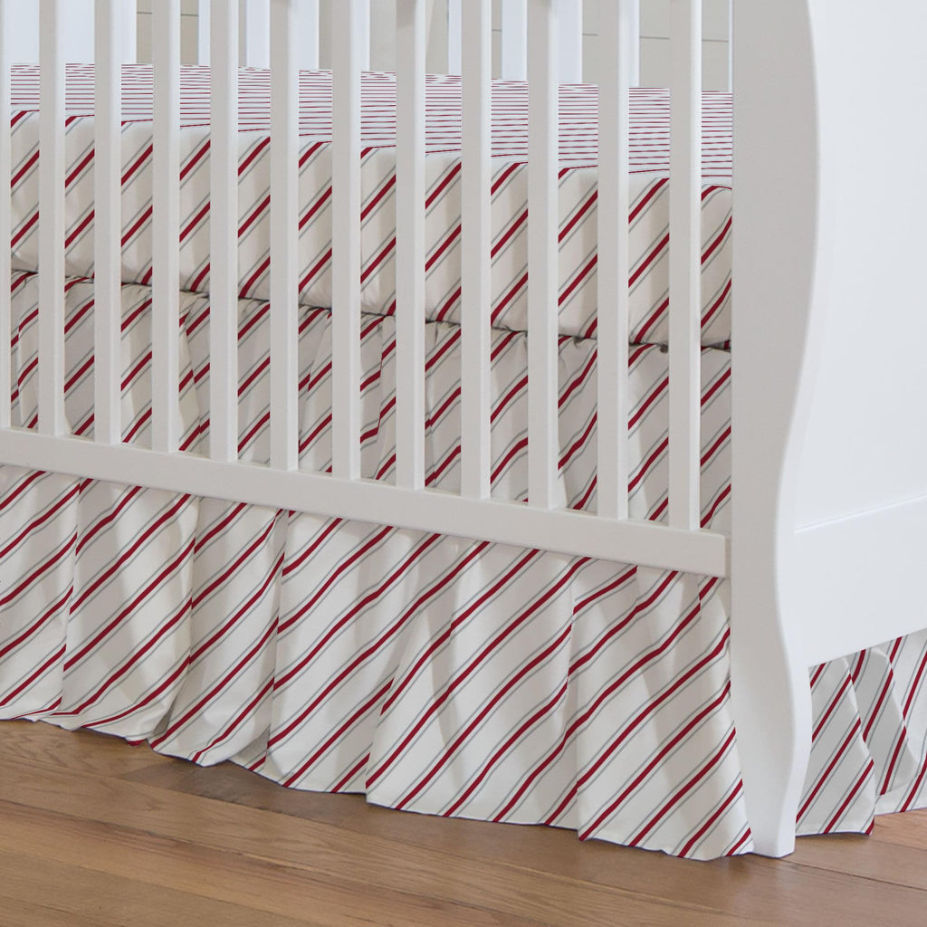Product image for Gray and Crimson Necktie Stripe Crib Skirt Gathered