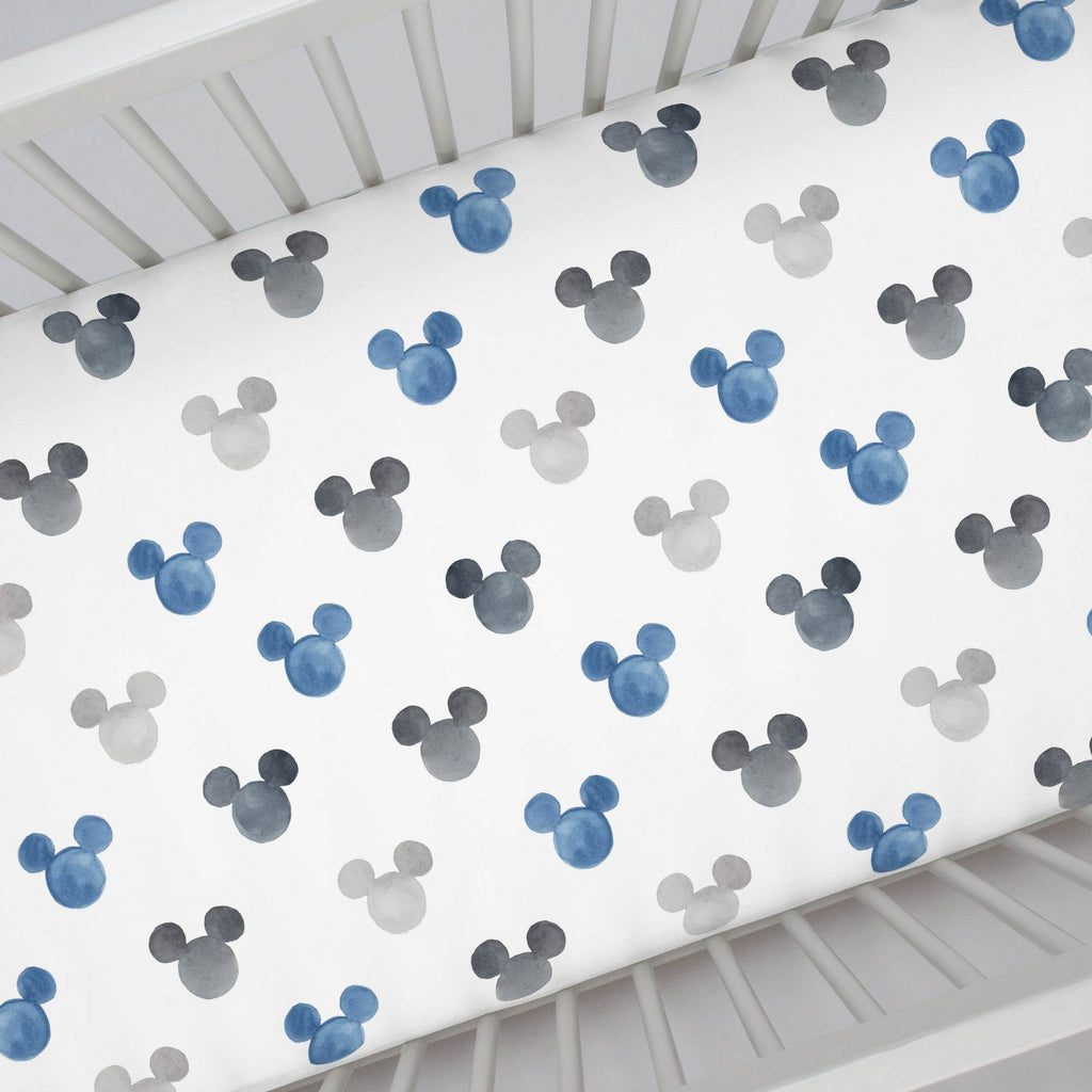 Product image for Disney© Blue Watercolor Mickey Ears Crib Sheet