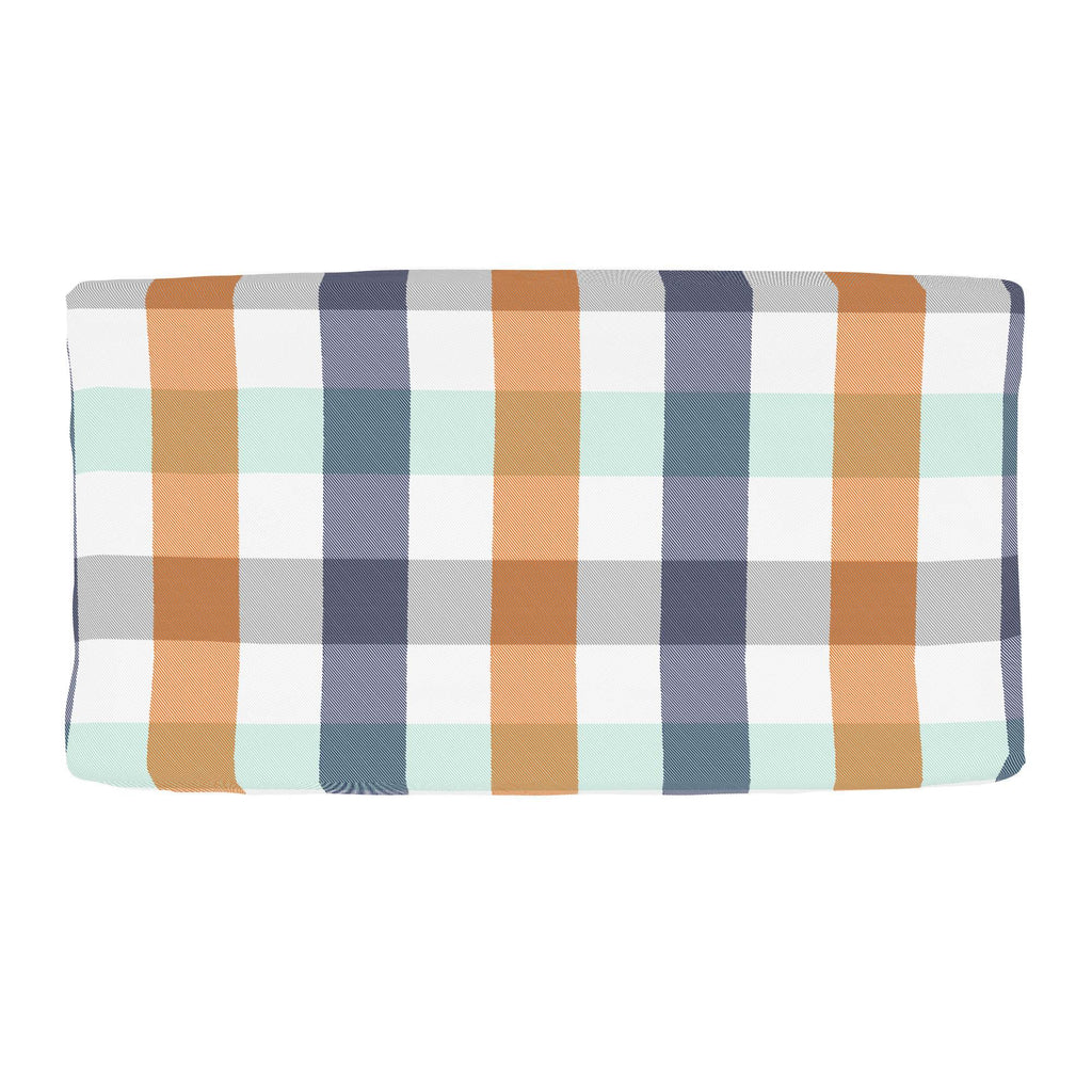 Product image for Navy and Orange Buffalo Check Changing Pad Cover