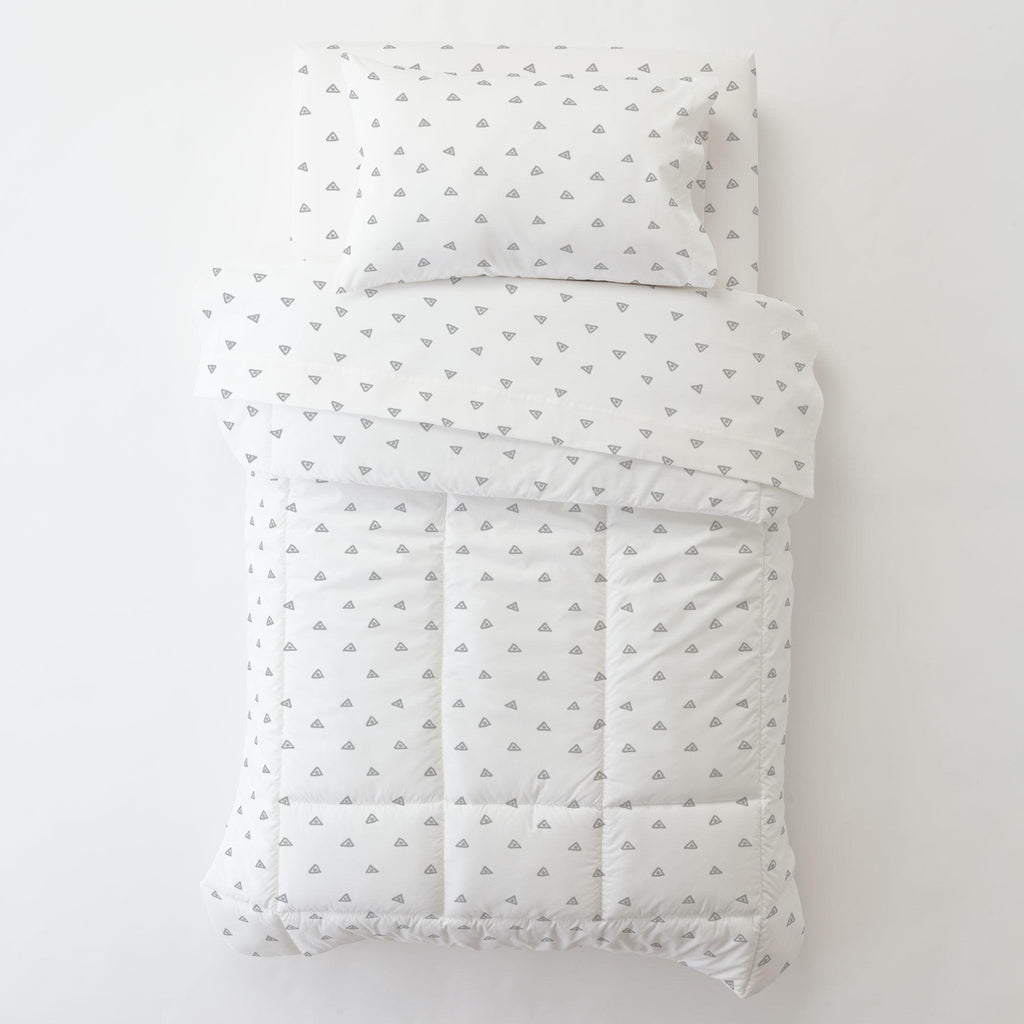 Product image for Silver Gray Triangle Dots Toddler Pillow Case with Pillow Insert