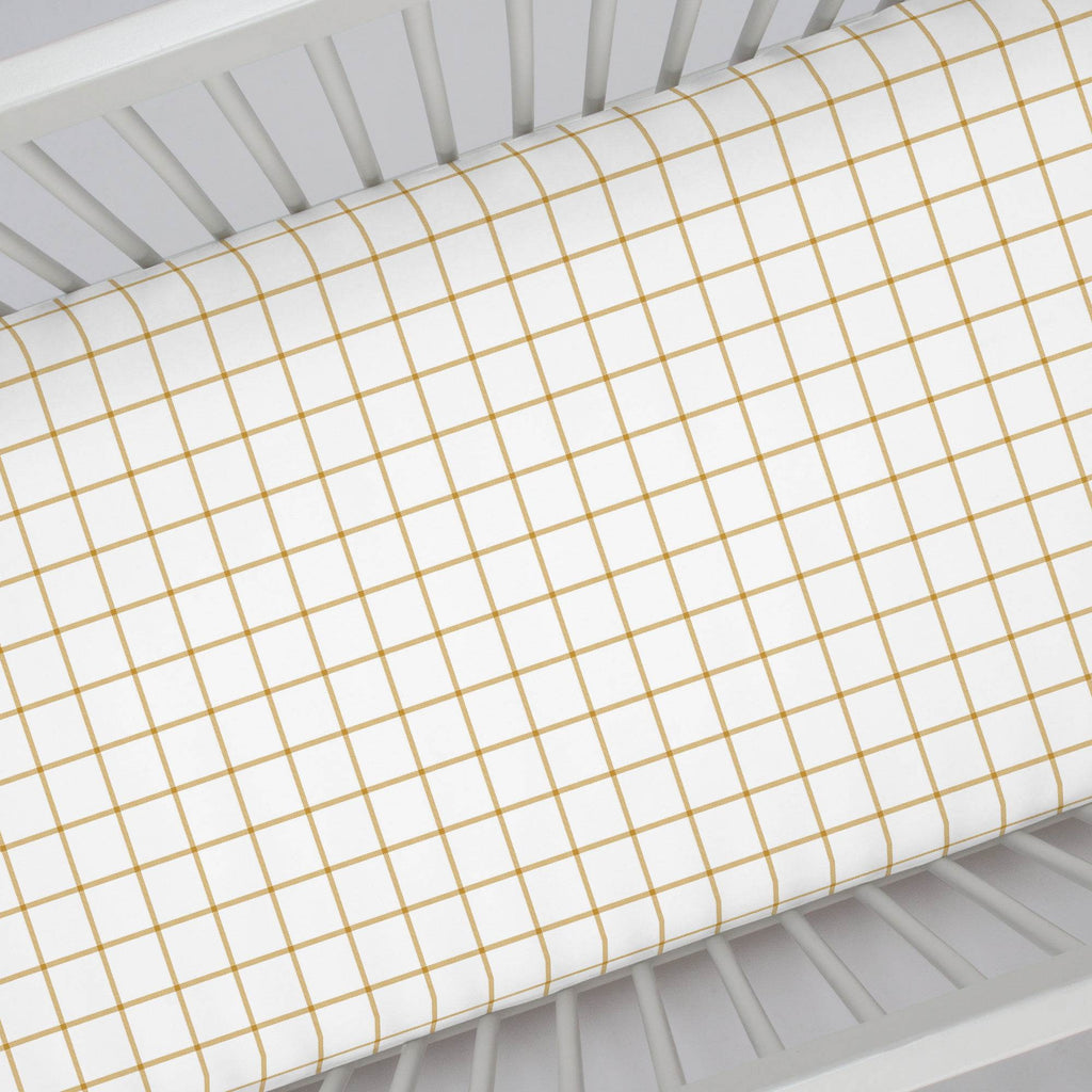 Product image for Mustard Windowpane Crib Sheet