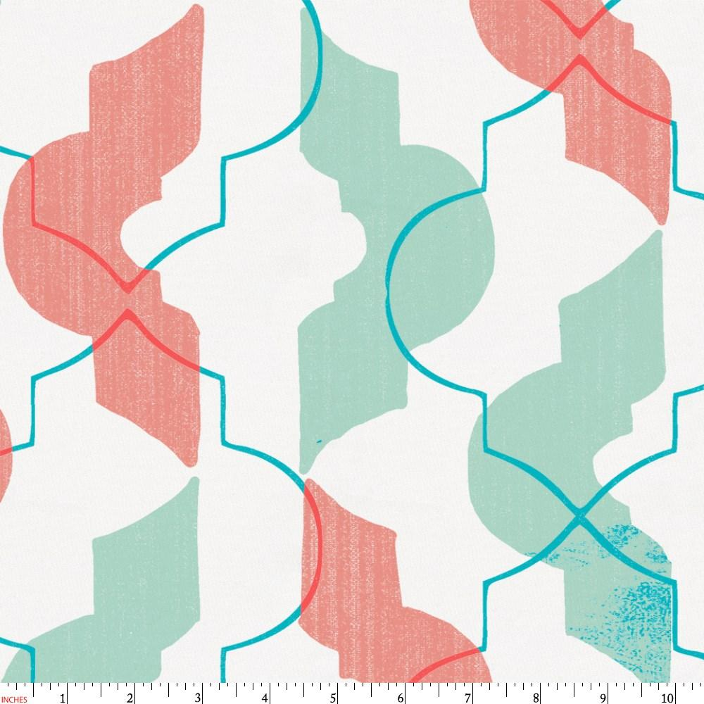 Product image for Coral and Teal Modern Quatrefoil Fabric