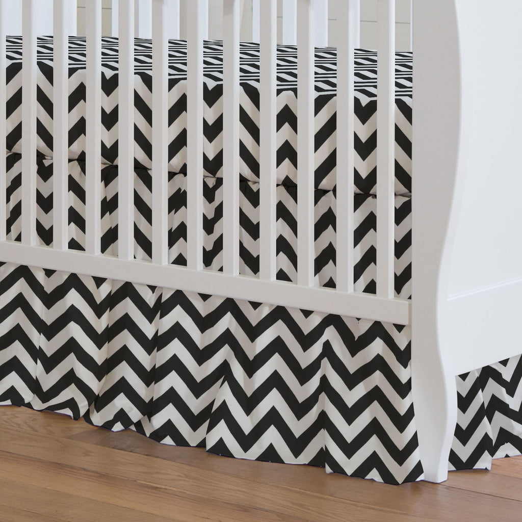 Product image for Black and White Zig Zag Crib Skirt Gathered