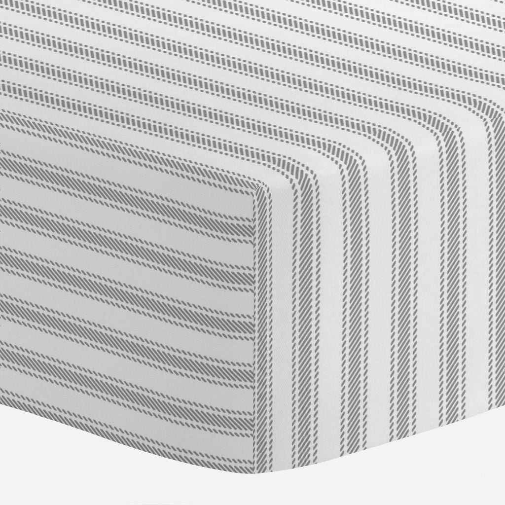 Product image for Cloud Gray Ticking Stripe Mini Crib Sheet