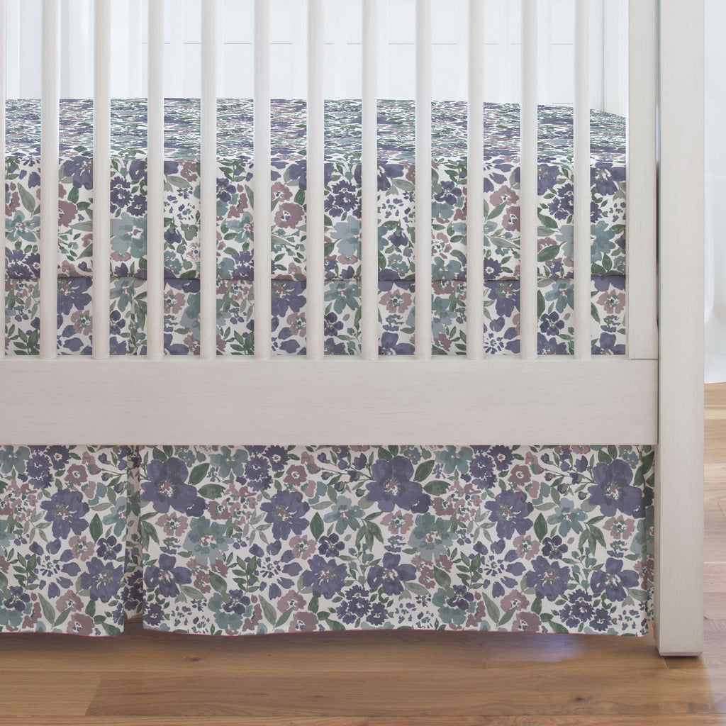 Product image for Purple Prairie Floral Crib Skirt Single-Pleat