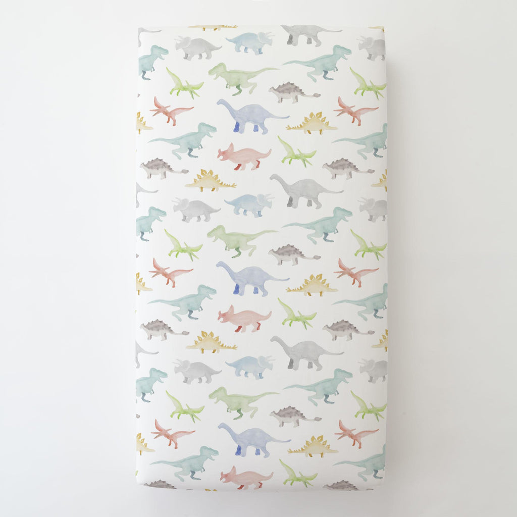 Product image for Watercolor Dinosaurs Toddler Sheet Bottom Fitted