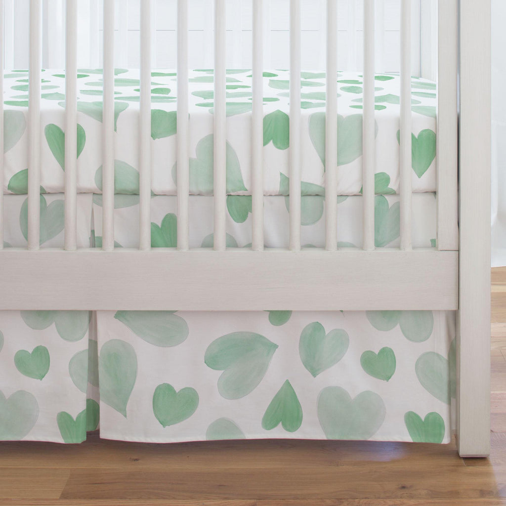 Product image for Mint Watercolor Hearts Crib Skirt Single-Pleat