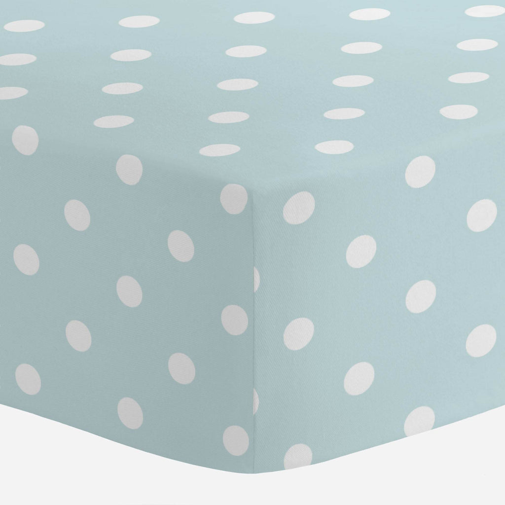 Product image for Mist and White Polka Dot Mini Crib Sheet