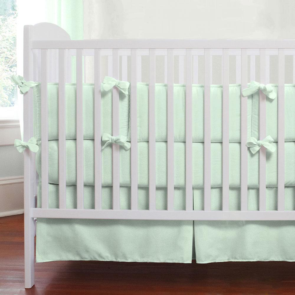 Product image for Solid Icy Mint Crib Comforter with Piping