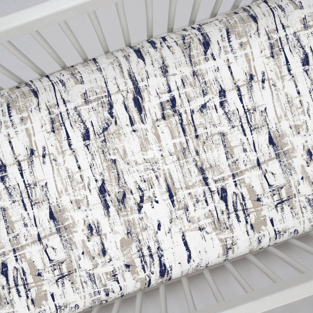 Product image for Navy and Taupe Birch Crib Sheet