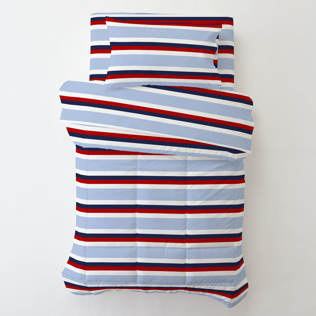 Product image for Red and Blue Stripe Toddler Pillow Case with Pillow Insert