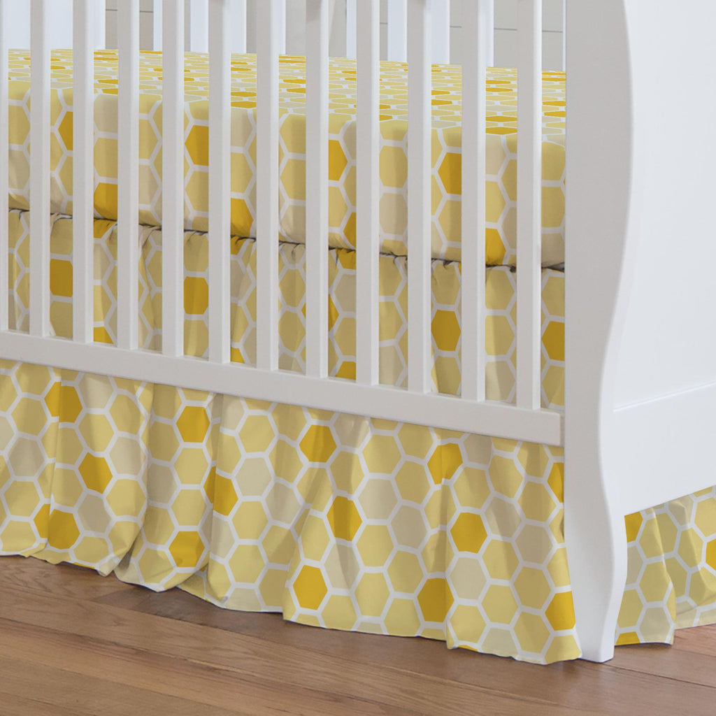Product image for Yellow Honeycomb Crib Skirt Gathered