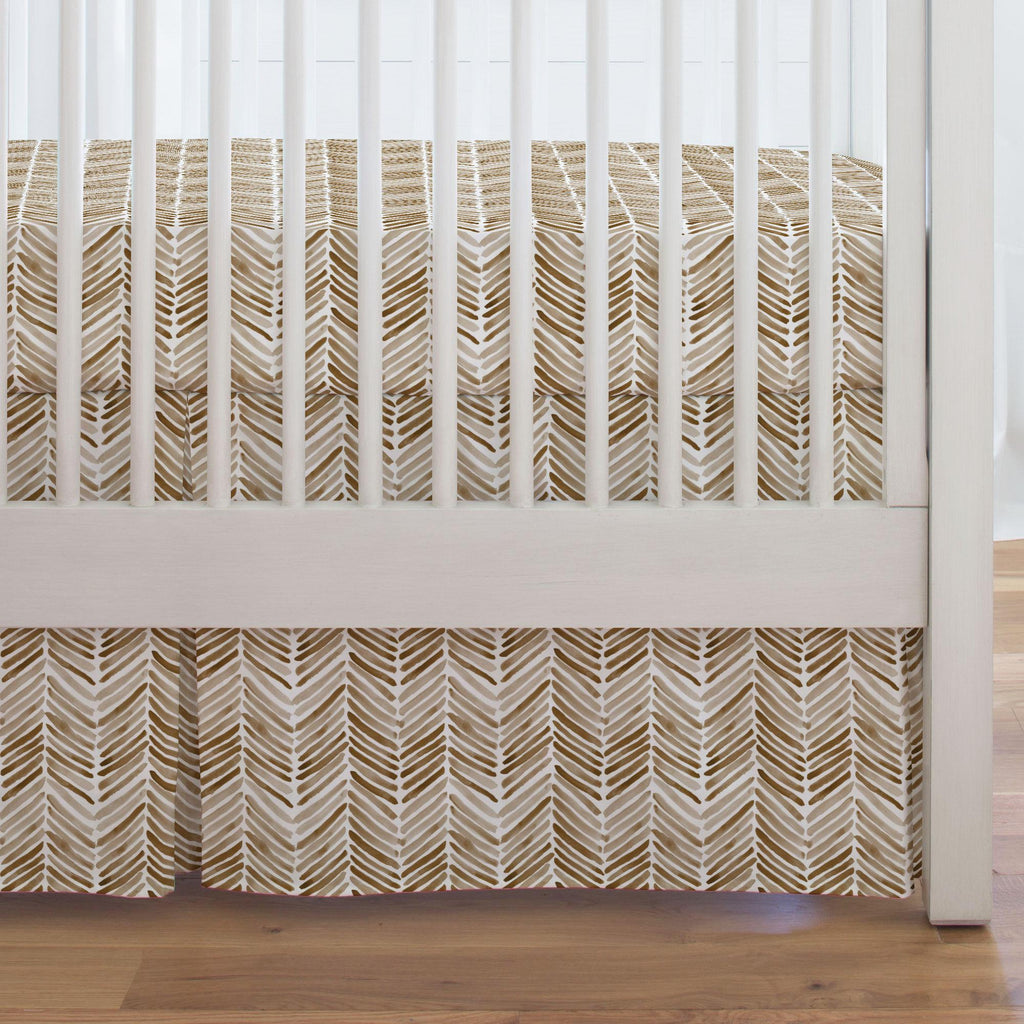 Product image for Caramel Painted Chevron Crib Skirt Single-Pleat