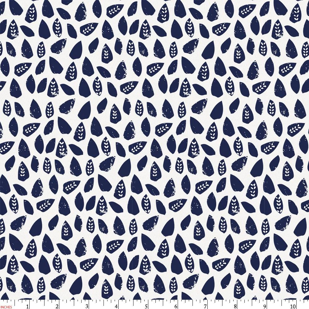 Product image for Navy Woodland Leaf Fabric