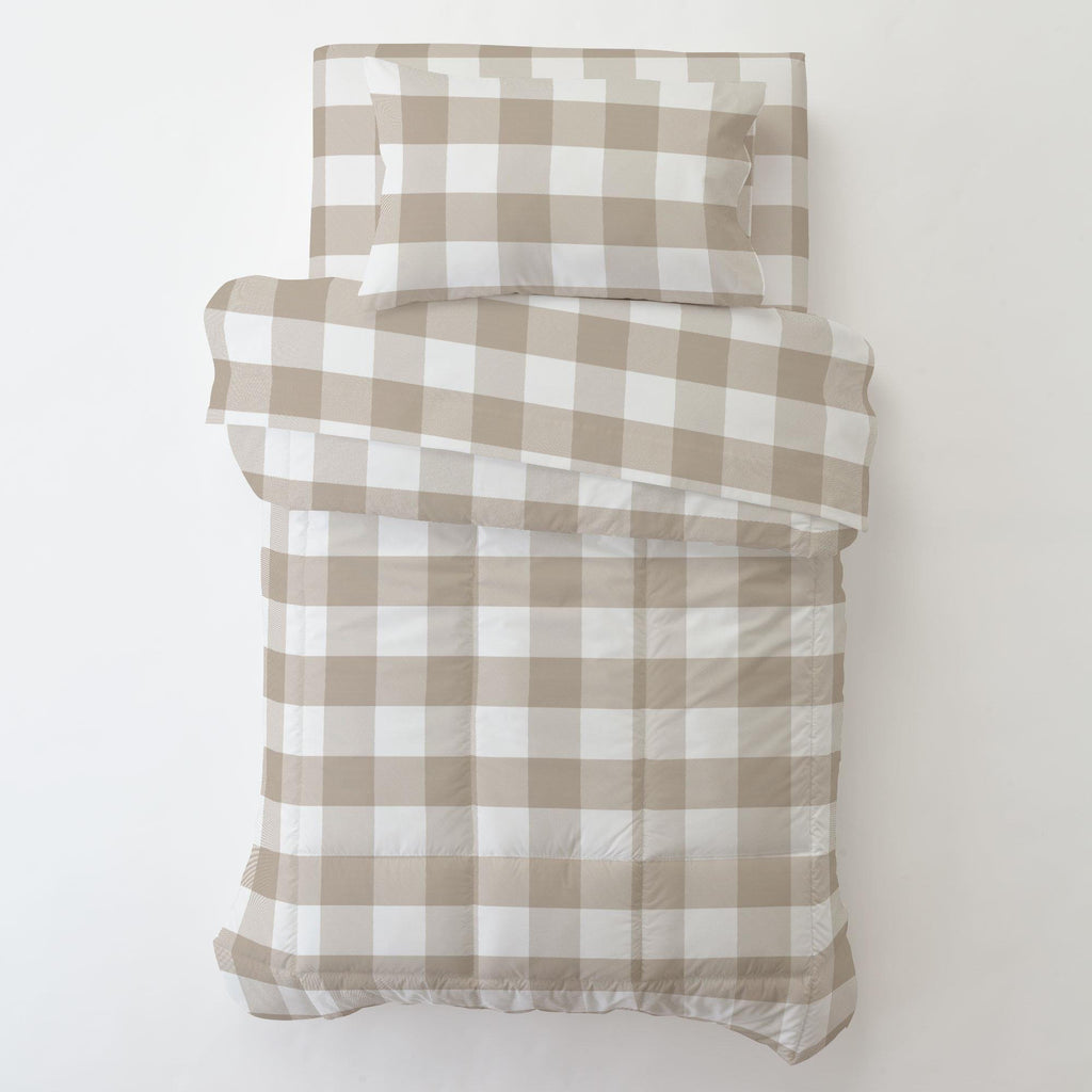 Product image for Taupe and White Buffalo Check Toddler Pillow Case with Pillow Insert