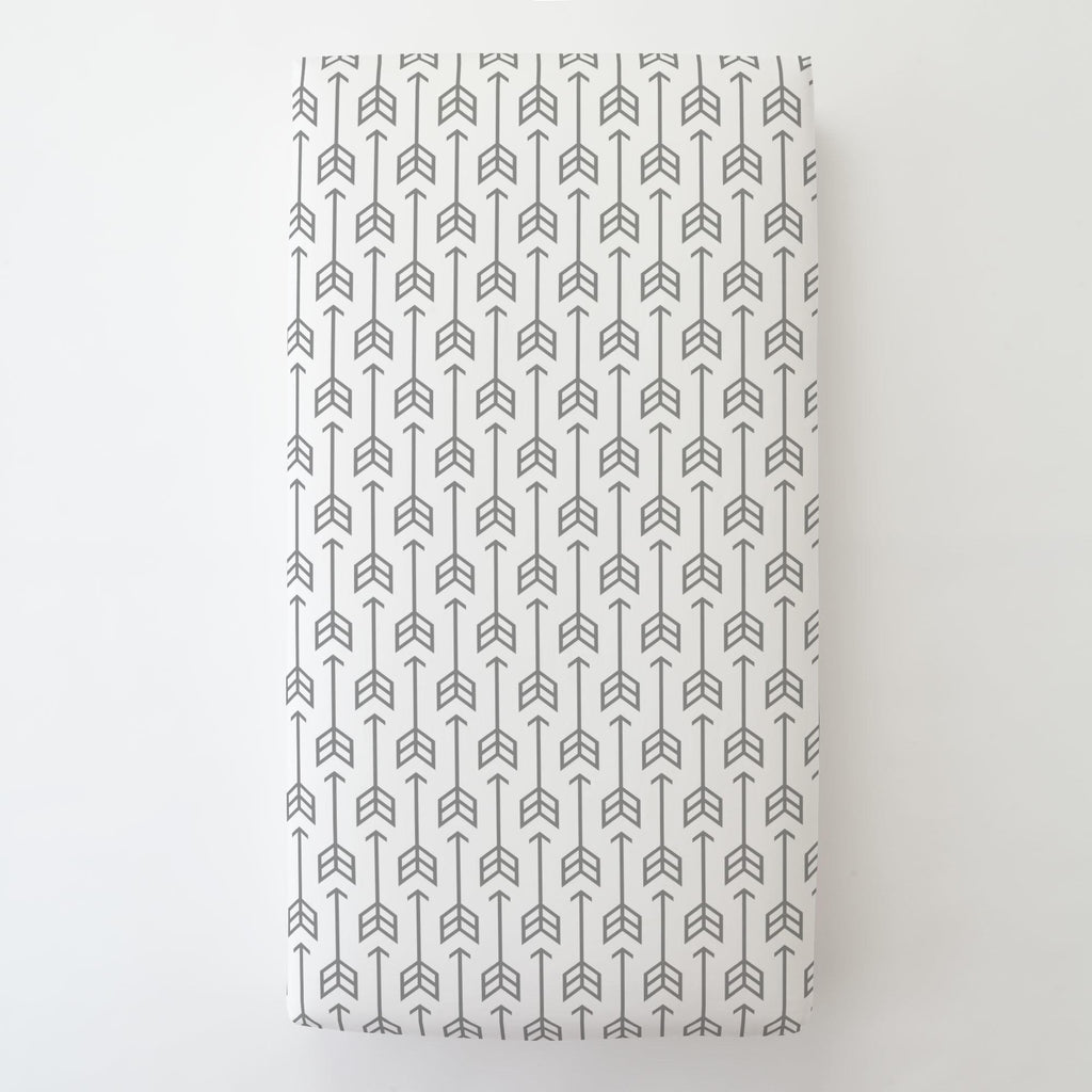 Product image for Cloud Gray Arrow Toddler Sheet Bottom Fitted