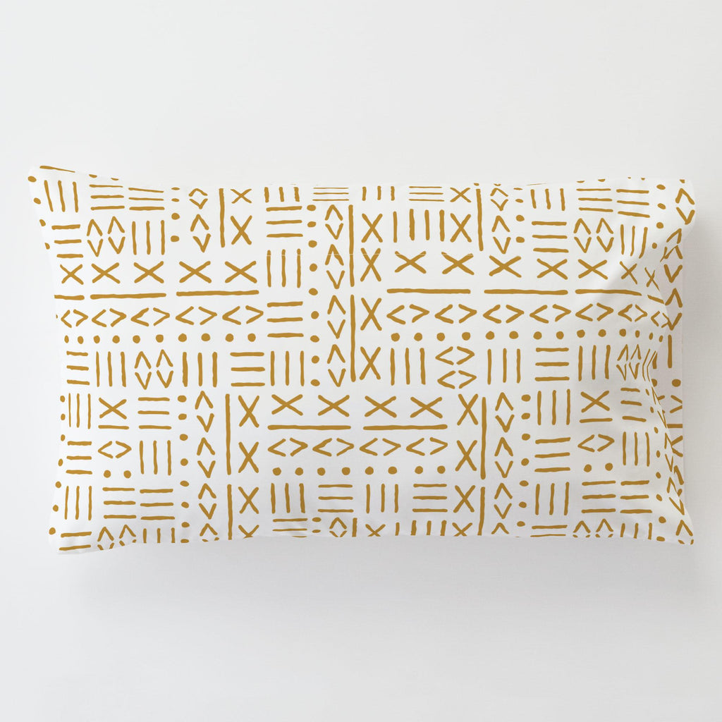 Product image for Mustard Mudcloth Toddler Pillow Case