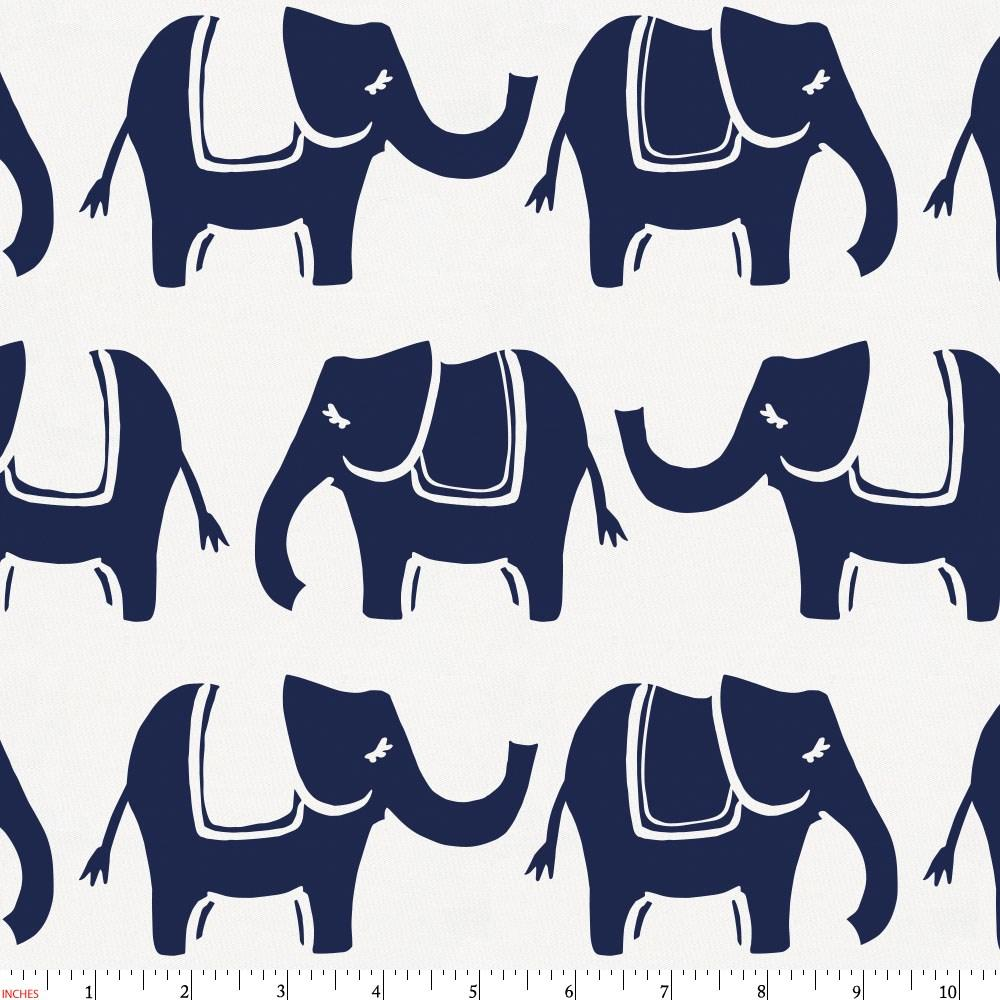 Product image for Navy Marching Elephants Fabric