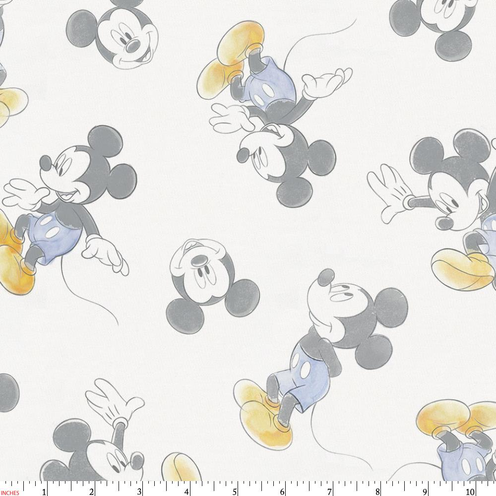 Product image for Disney© Blue Watercolor Mickey Mouse Fabric