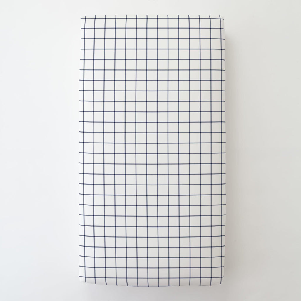 Product image for Navy Windowpane Toddler Sheet Bottom Fitted