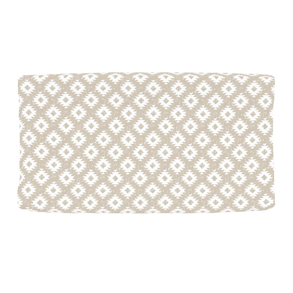 Product image for Taupe and White Aztec Changing Pad Cover