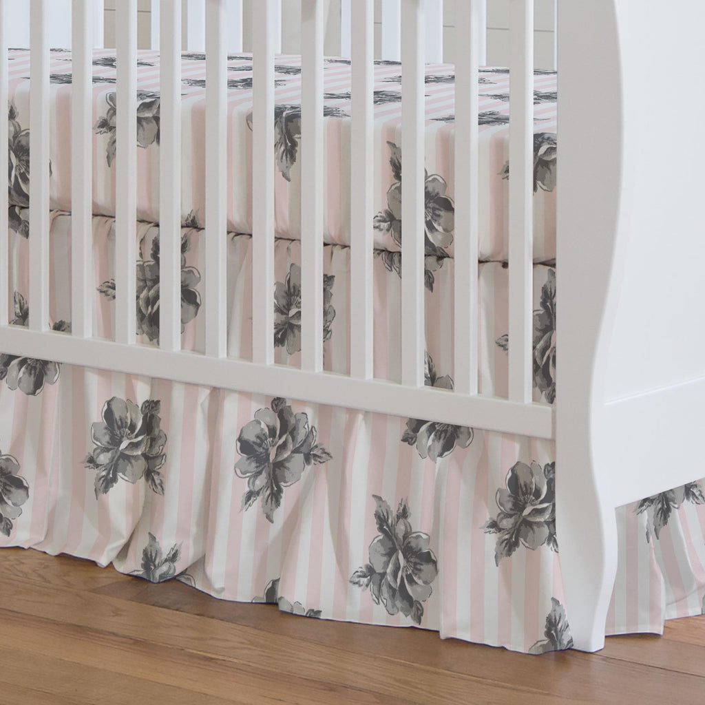 Product image for Pink and Gray Floral Stripe Crib Skirt Gathered