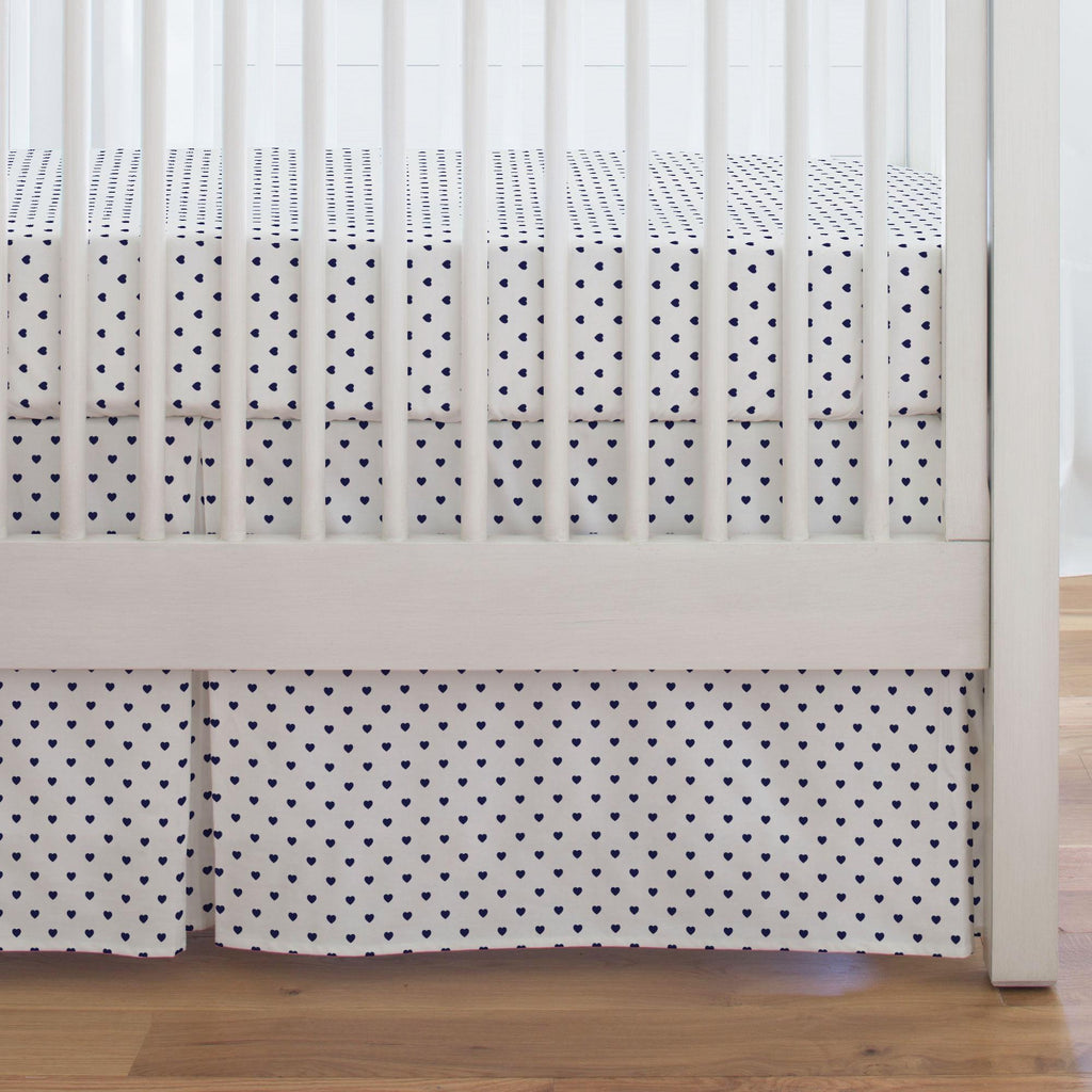 Product image for Windsor Navy Hearts Crib Skirt Single-Pleat