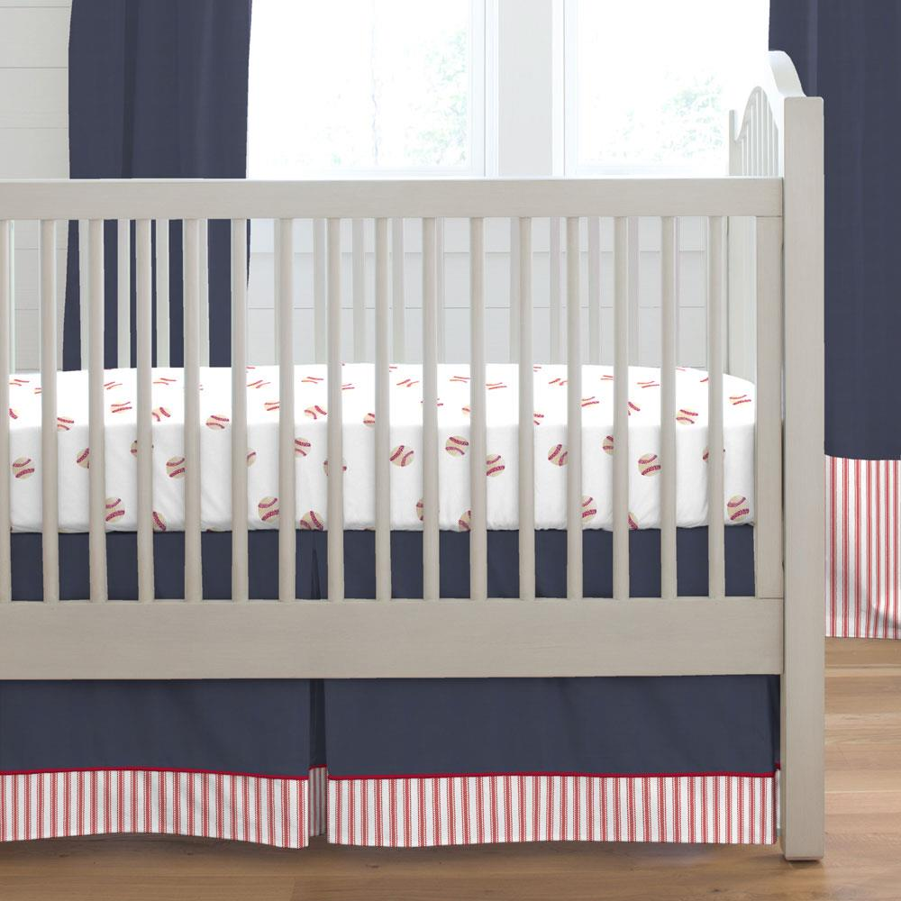 Product image for Solid Navy Crib Skirt Single-Pleat with Trim