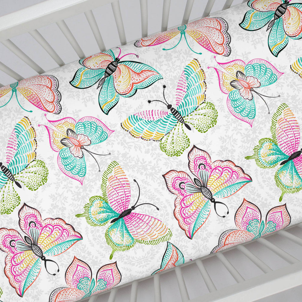 Product image for Bright Damask Butterflies Crib Sheet