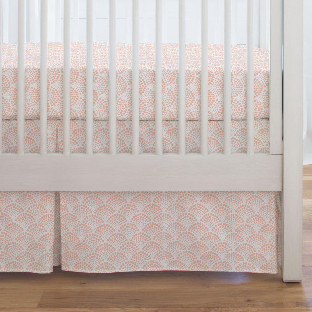 Product image for Peach Scallop Dot Crib Skirt Single-Pleat