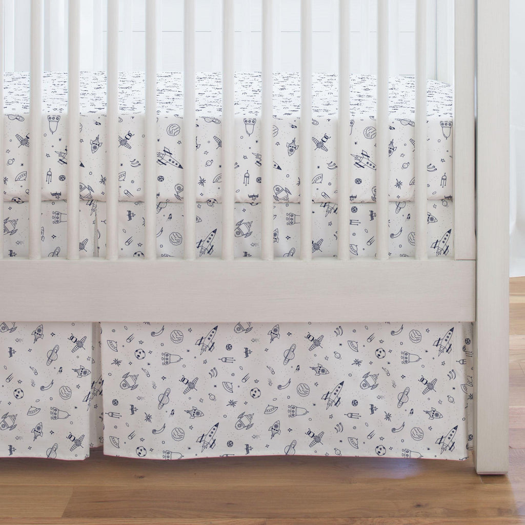 Product image for Windsor Navy and White Rockets Crib Skirt Single-Pleat