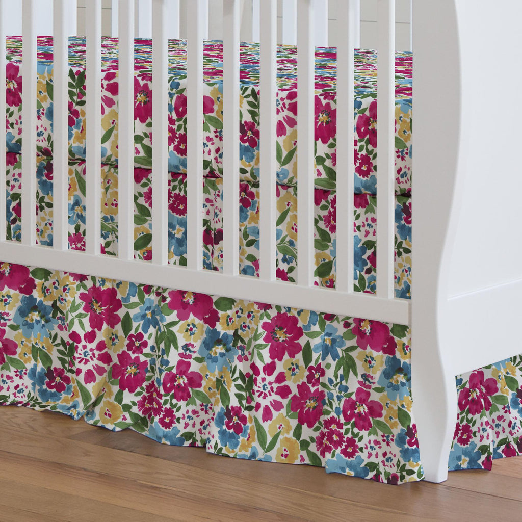 Product image for Prairie Floral Crib Skirt Gathered