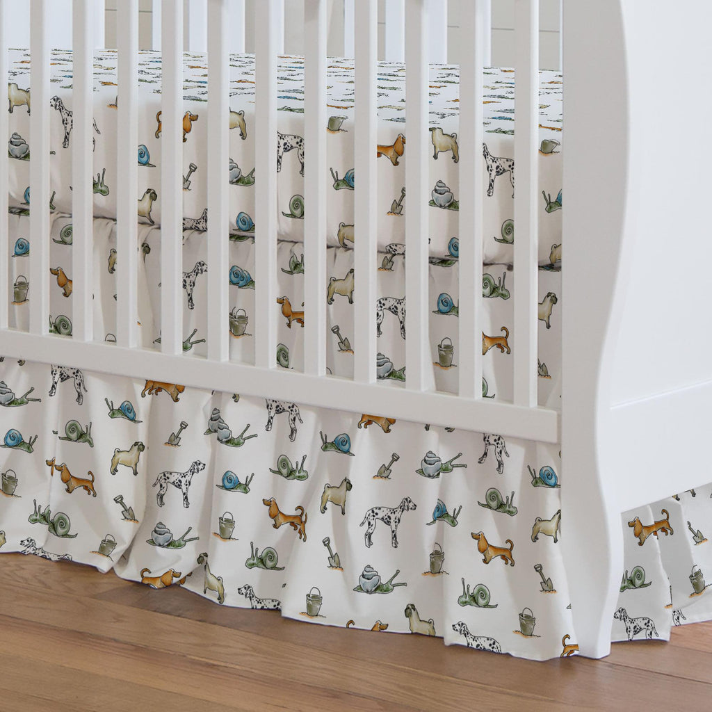 Product image for Snails and Tails Crib Skirt Gathered