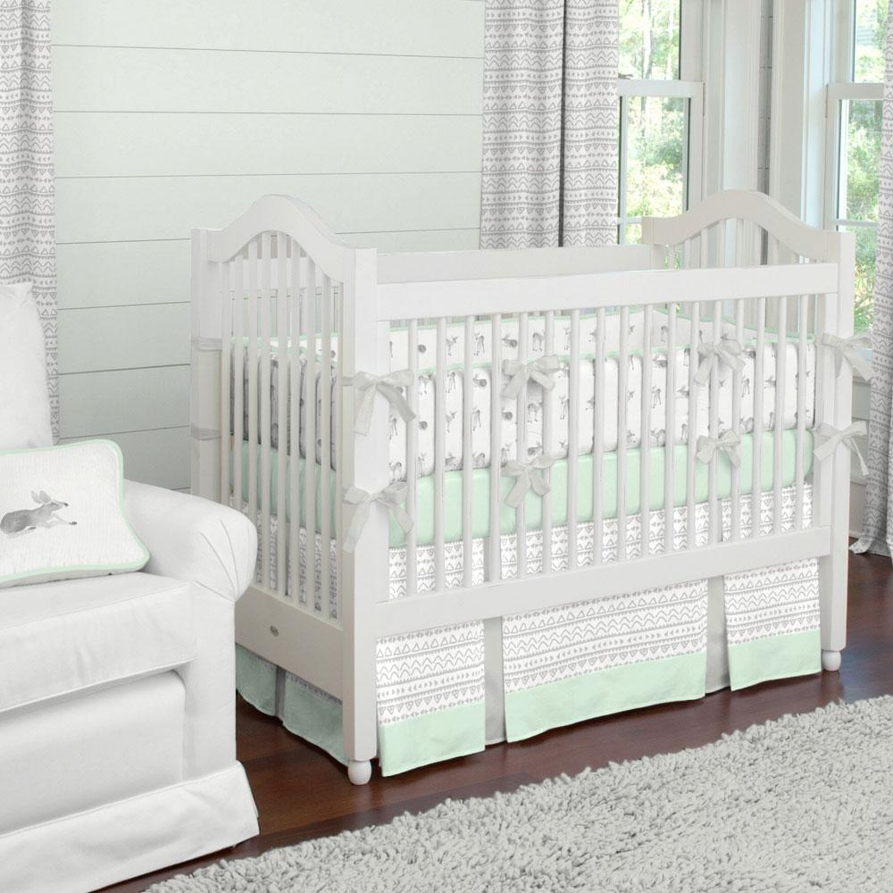 Product image for Silver Gray Fawns Crib Bumper