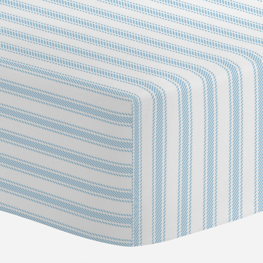 Product image for Lake Blue Ticking Stripe Mini Crib Sheet