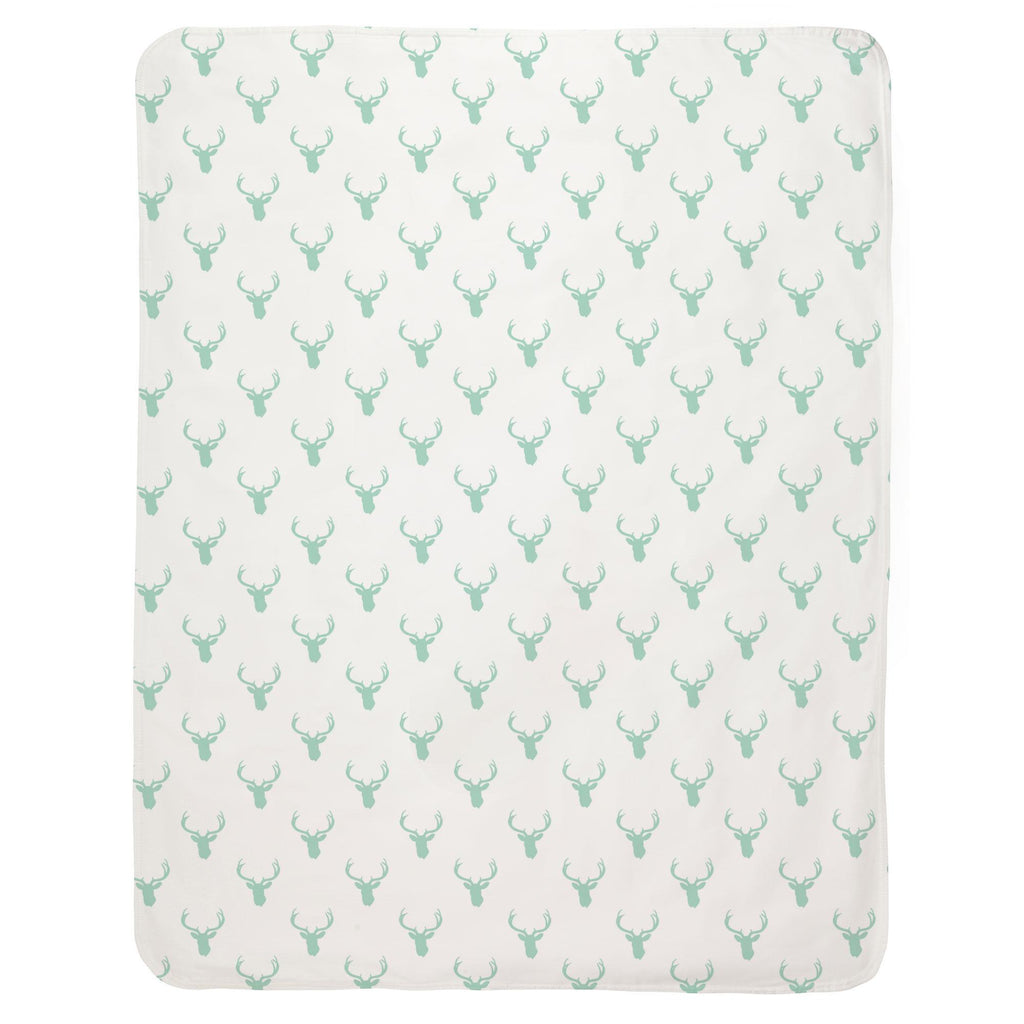 Product image for Mint Deer Silhouette Baby Blanket