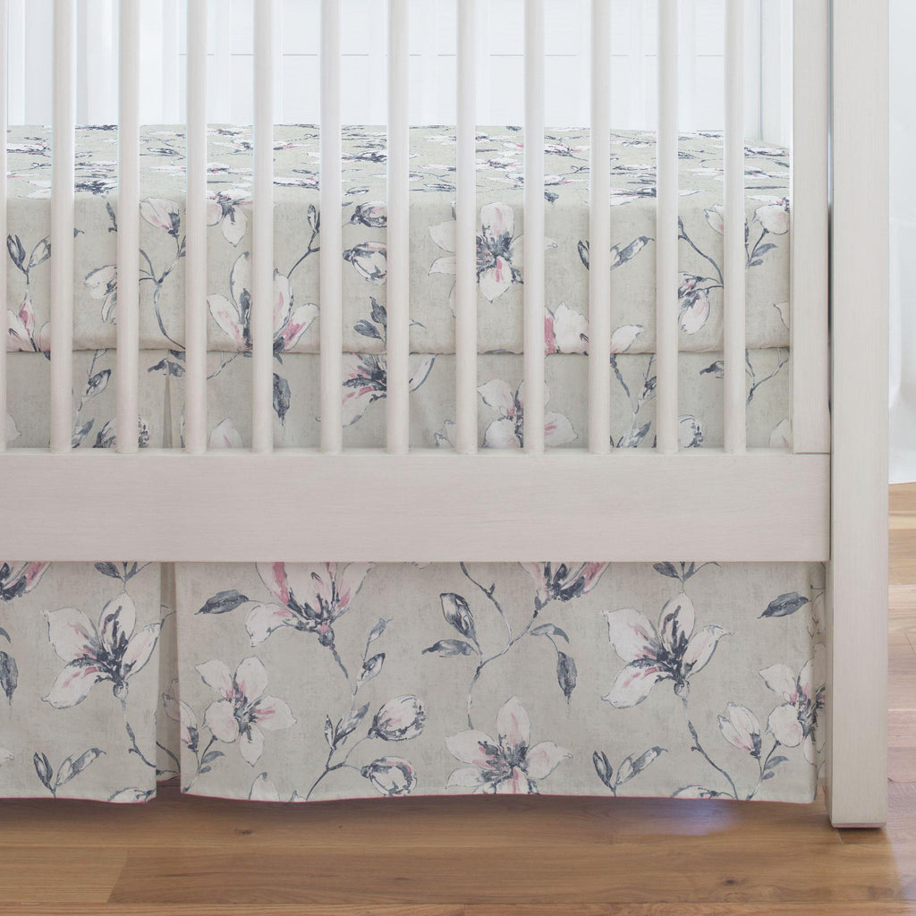 Product image for Pink and Blue Painted Lilies Crib Skirt Single-Pleat
