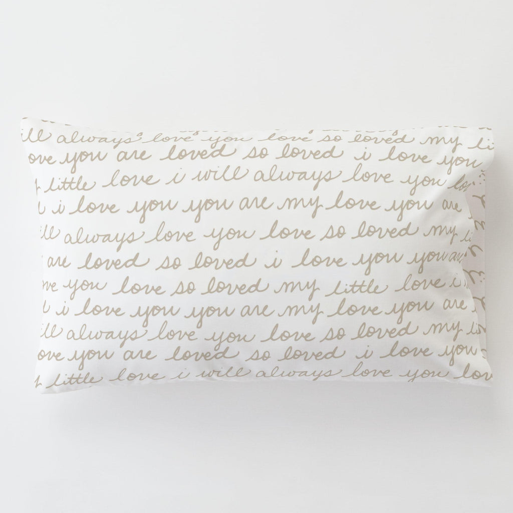 Product image for Taupe Love Words Toddler Pillow Case