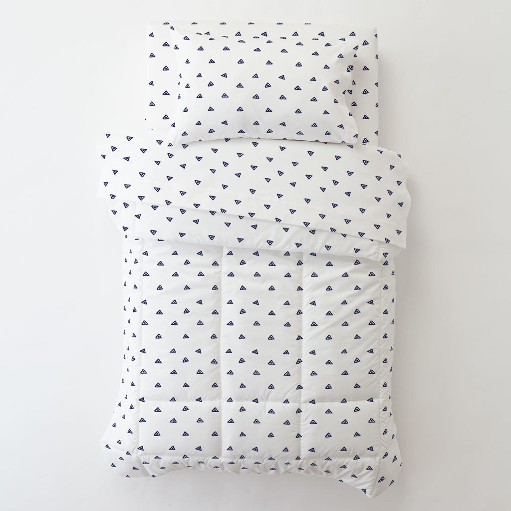 Product image for Navy Triangle Dots Toddler Pillow Case with Pillow Insert