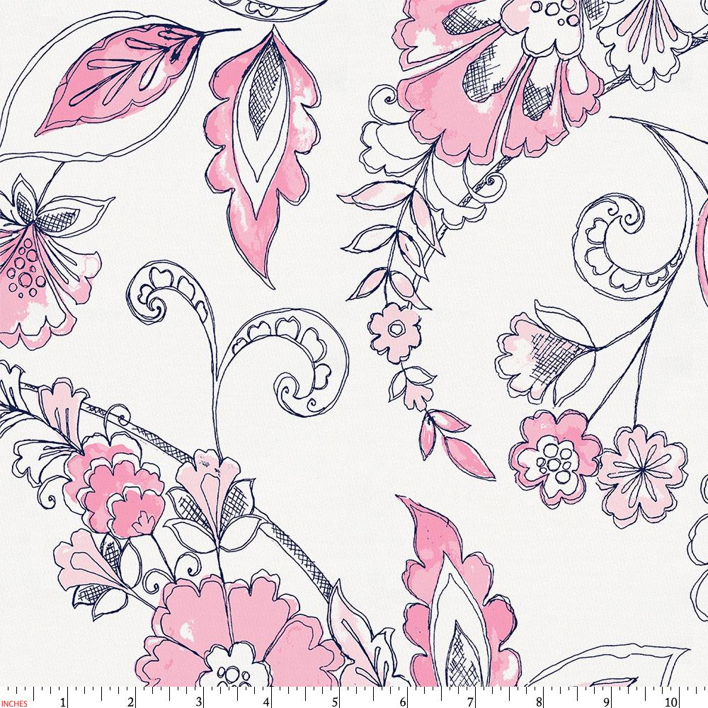 Product image for Pink and Navy Sketchbook Floral Fabric