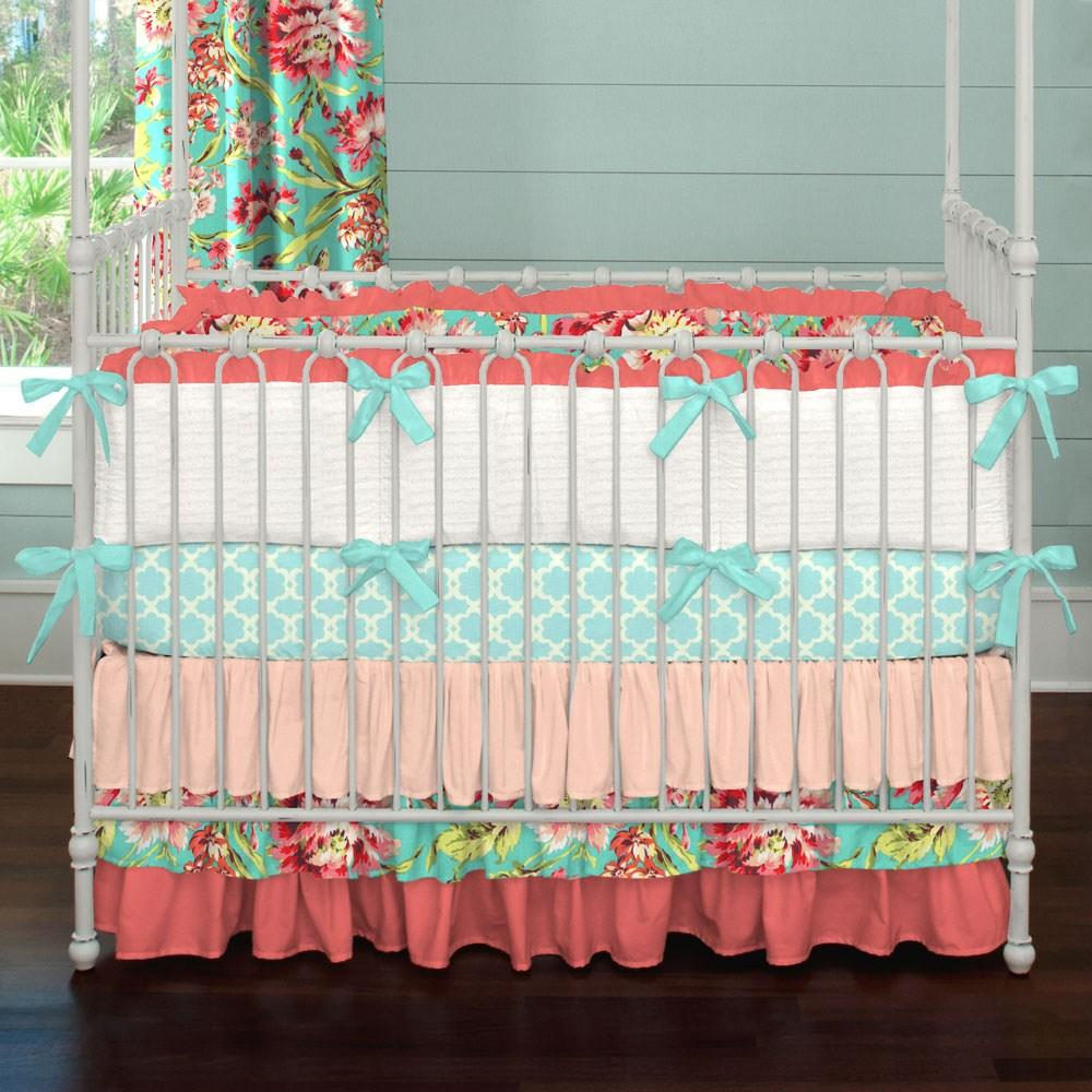Product image for Coral and Teal Floral Crib Comforter with Ruffle