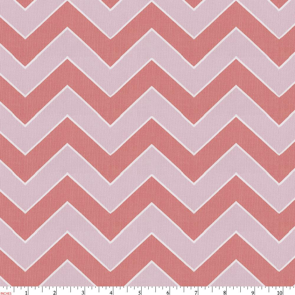 Product image for Coral and Pink Chevron Fabric