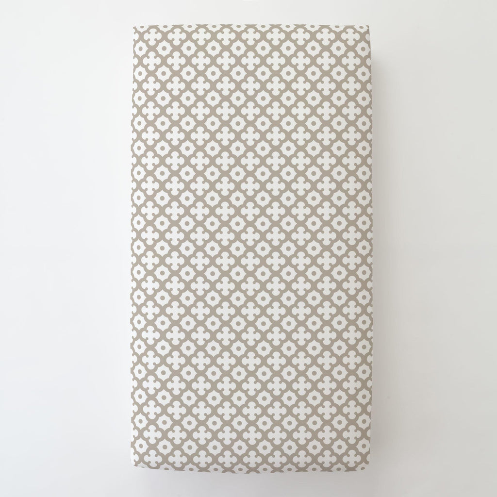 Product image for Taupe Moroccan Tile Toddler Sheet Bottom Fitted