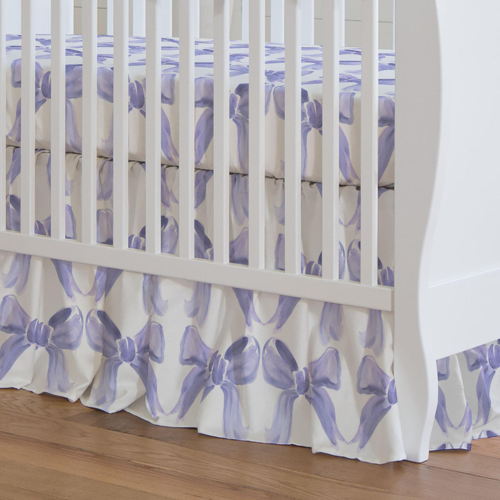 Product image for Lilac Watercolor Bows Crib Skirt Gathered