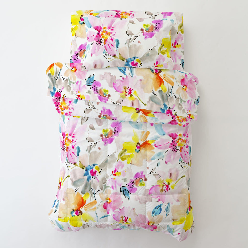 Product image for Watercolor Floral Toddler Pillow Case with Pillow Insert
