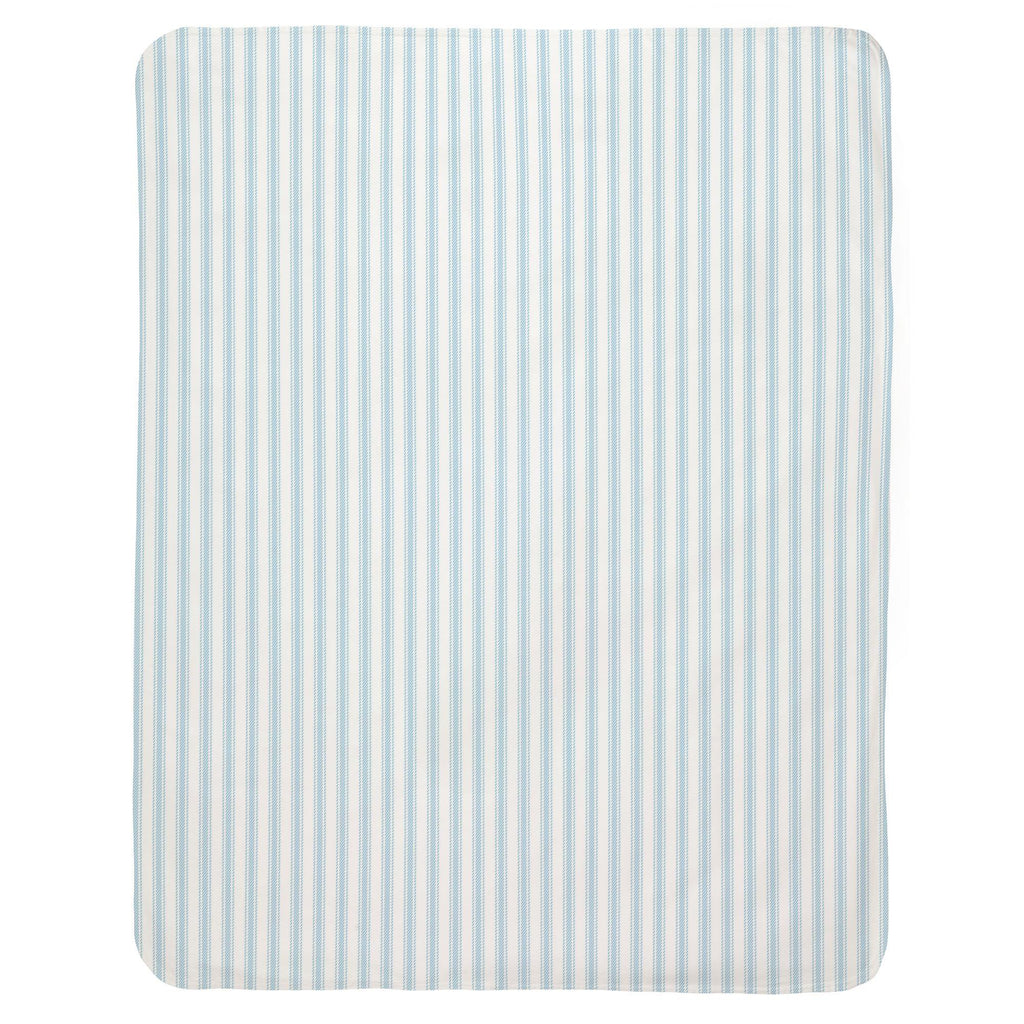 Product image for Lake Blue Ticking Stripe Baby Blanket